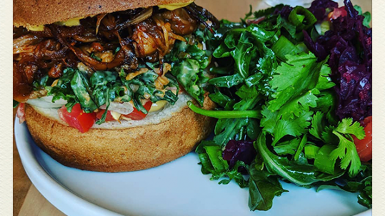Chew on Vegan Pulled Pork Sandwich