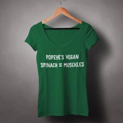 Chew-On-Vegan-Female-V-Neck-T-shirt-Popeye