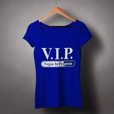 Chew-On-Vegan-Female-V-Neck-T-shirt-VIP-Vegan-in-Progress