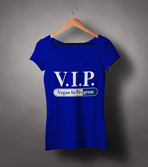 Chew-On-Vegan-Female-V-Neck-T-shirt-VIP-Vegan-in-Progress