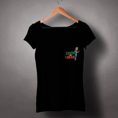 Chew-on-Vegan-Female-V-Neck-T-shirt-Logo