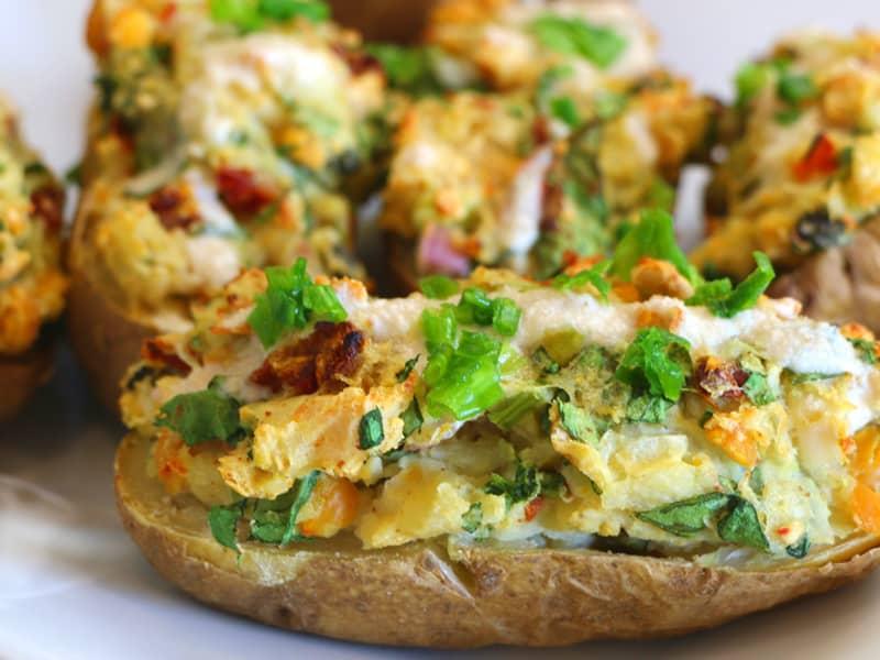 Loaded Potato-skins chew on vegan